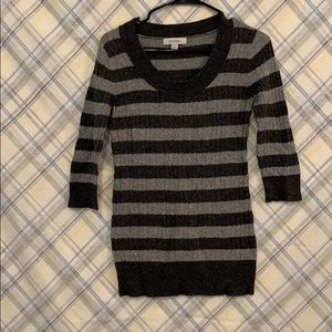 Grey striped mid length sweater